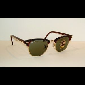 Women's Brown + Gold Clubmaster Ray Ban Sunglasses
